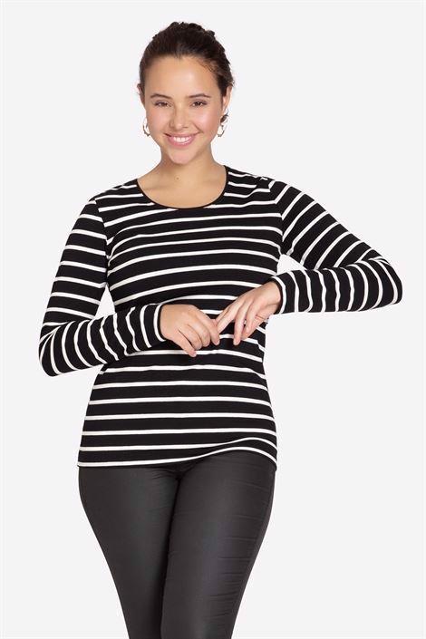 Sort/hvid Stribet ammebluse - klassisk T-shirt model i økologisk bomulds jersey